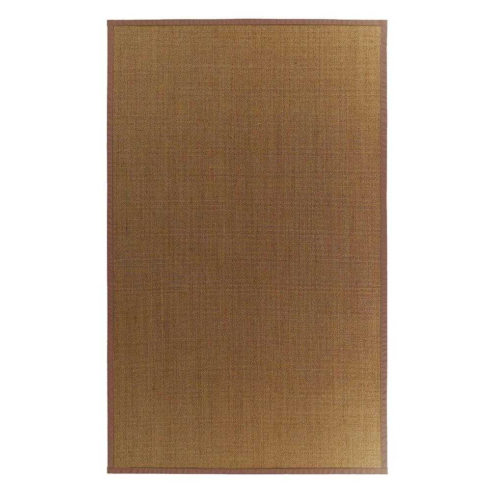 Lanart Rug Carpette d'intérieur, 4 pi. x 6 pi. tissage texturé, rectangulaire, sisal naturel, brun