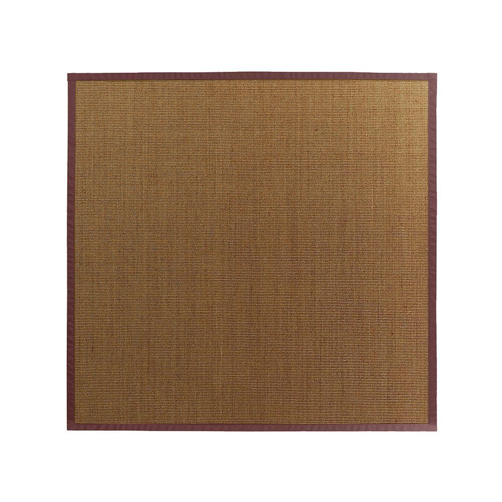 Lanart Rug Carpette d'intérieur, 8 pi. x 8 pi. tissage texturé, rectangulaire, sisal naturel, bourgogne