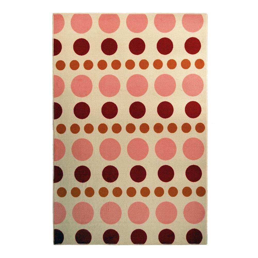 Lanart Rug Carpette d'intérieur pour enfants, 4 pi x 6 pi, style contemporain, rectangulaire, rose Designer Kids