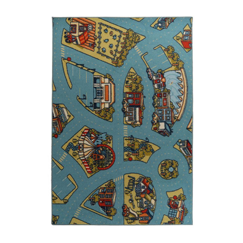 Lanart Rug Carpette d'intérieur pour enfants, 9 pi x 10 pi, style contemporain, rectangulaire, bleu Designer Kids