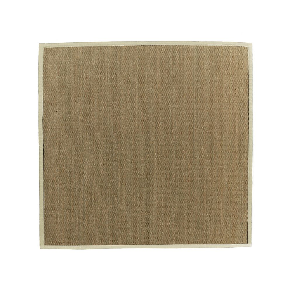 Lanart Rug Carpette d'intérieur, 8 pi x 8 pi, tissage texturé, carrée, jonc de mer naturel, blanc cassé