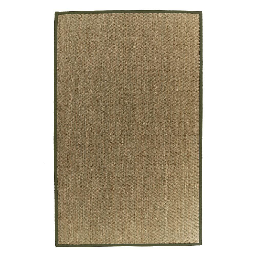 Lanart Rug Carpette d'intérieur, 9 pi x 12 pi, tissage texturé, rectangulaire, jonc de mer naturel, vert