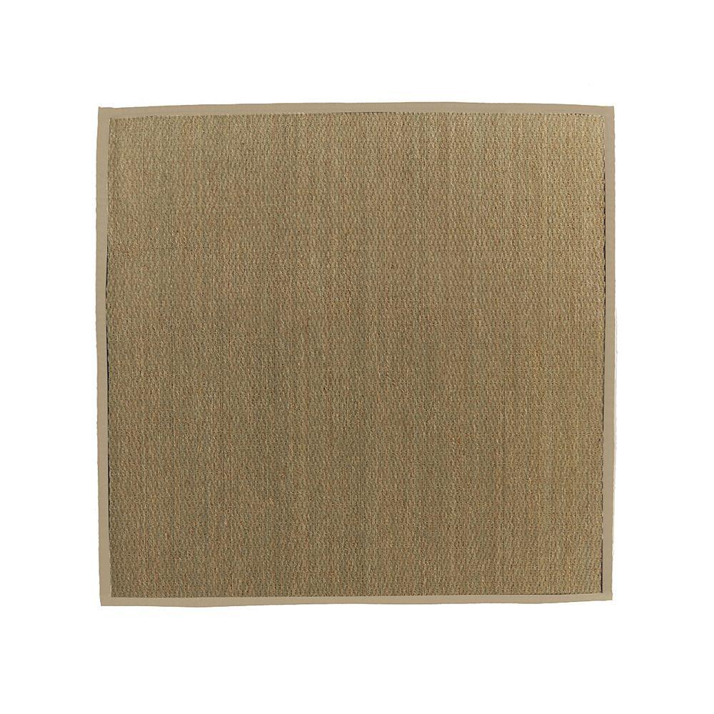Lanart Rug Carpette d'intérieur, 5 pi x 5 pi, tissage texturé, carrée, jonc de mer naturel, havane