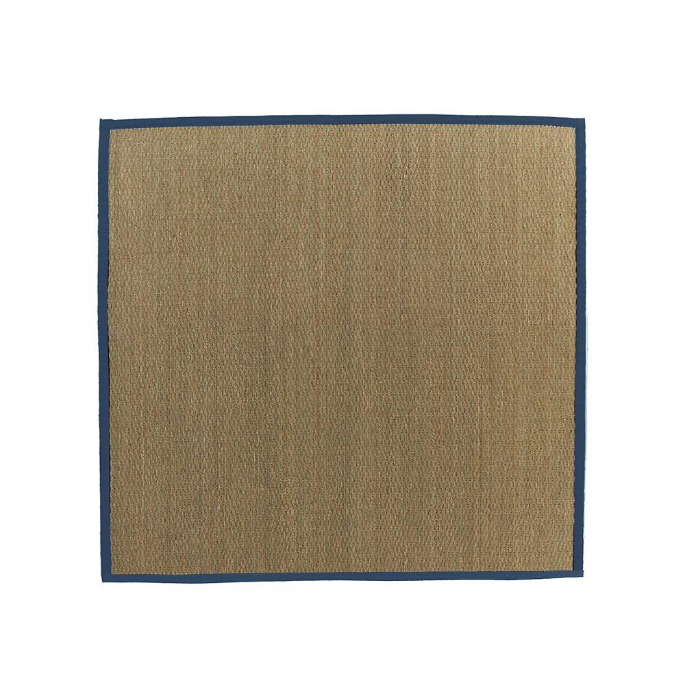 Lanart Rug Carpette d'intérieur, 8 pi x 8 pi, tissage texturé, carrée, jonc de mer naturel, bleu