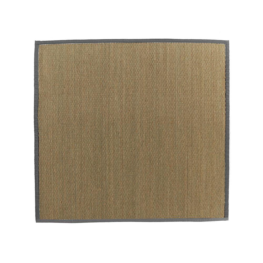Lanart Rug Carpette d'intérieur, 8 pi x 8 pi, tissage texturé, carrée, jonc de mer naturel, rouge
