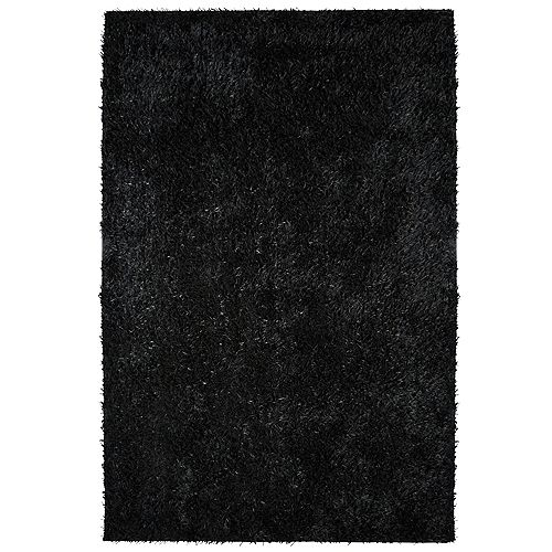 Lanart Rug City Sheen Black 3 ft. x 4 ft. 6-inch Indoor Shag Rectangular Area Rug