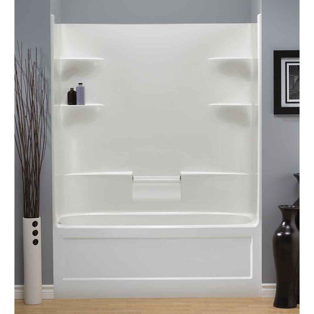 "Mirolin Belaire 32.5-inch D x 60-inch W x 78"" H 4-shelf Acrylic 1-Piece Hand Drain Tub & Shower in White"