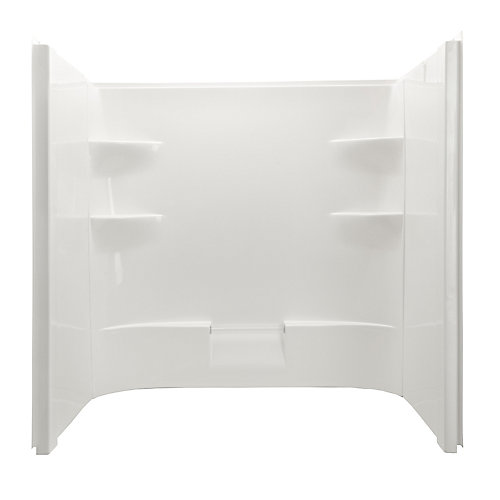Belaire Acrylic Dome Less Shower Walls Includes One Back And Two Side Acrylic Walls in White