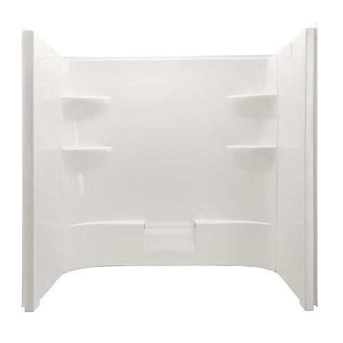 Murs de douche en acrylique Belaire à dôme en acrylique avec un dos et deux côtés en acrylique blanc.