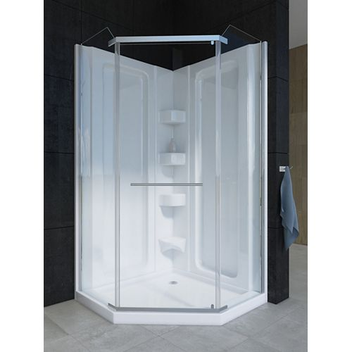 Sorrento 38-inch D x 38-inch W x 79.5-inch H 1-Piece Acrylic Neo-Angle Shower Stall in White