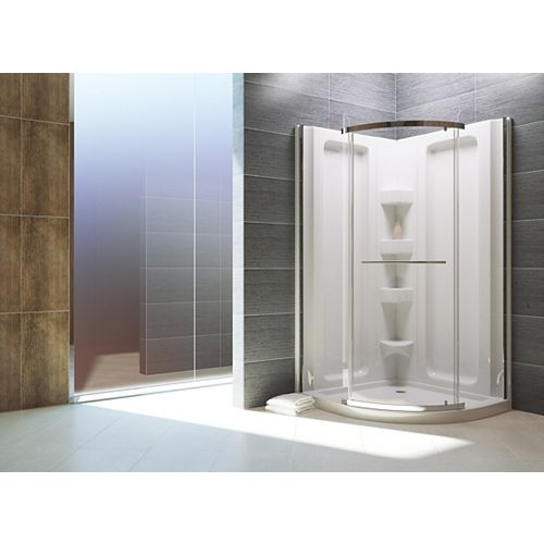 Sorrento 38-inch D x 38-inch W x 79.5-inch H 1-Piece Acrylic Round Front Shower Stall in White