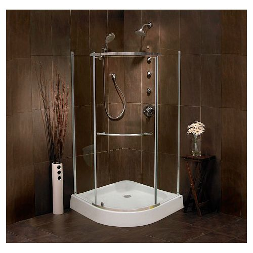 Sorrento 38 Inch Acrylic Round Front Shower Door & Base