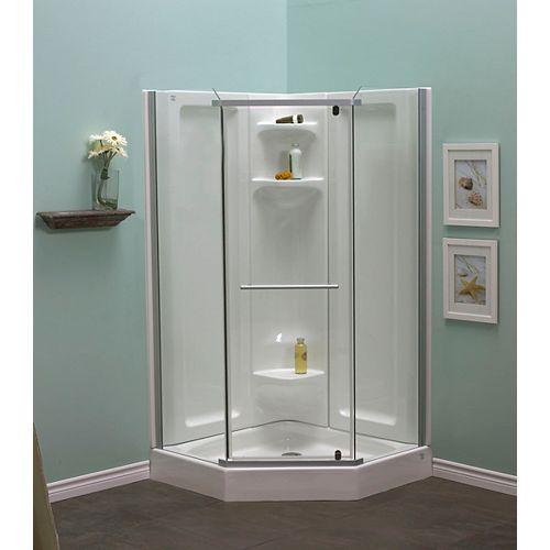 Sorrento 42-Inch  Acrylic Frameless Neo-Angle Shower Stall