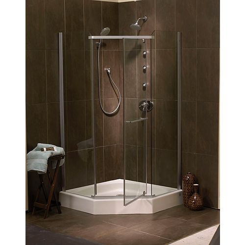 Sorrento 42 Inch Acrylic Frameless Neo-Angle Shower Door & Base