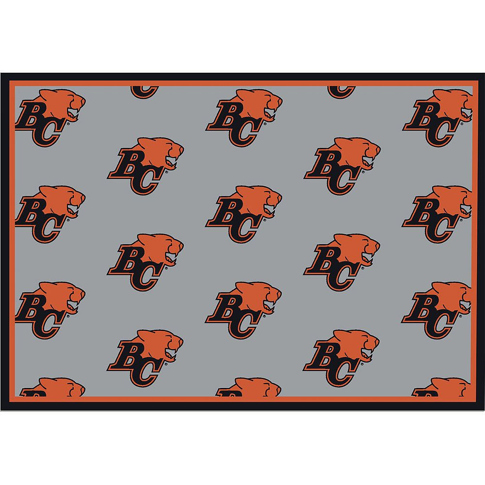 CFL Carpette B.C. Lions, 5 pi 4 po x 7 pi 8 po, rectangulaire, gris