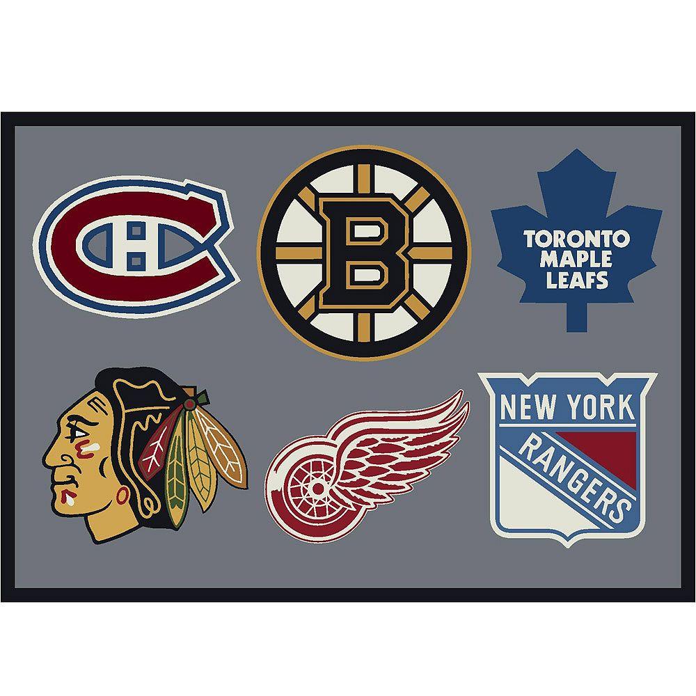 NHL Carpette Orignal Six, 2 pi 1 po x 7 pi 8 po, rectangulaire, gris