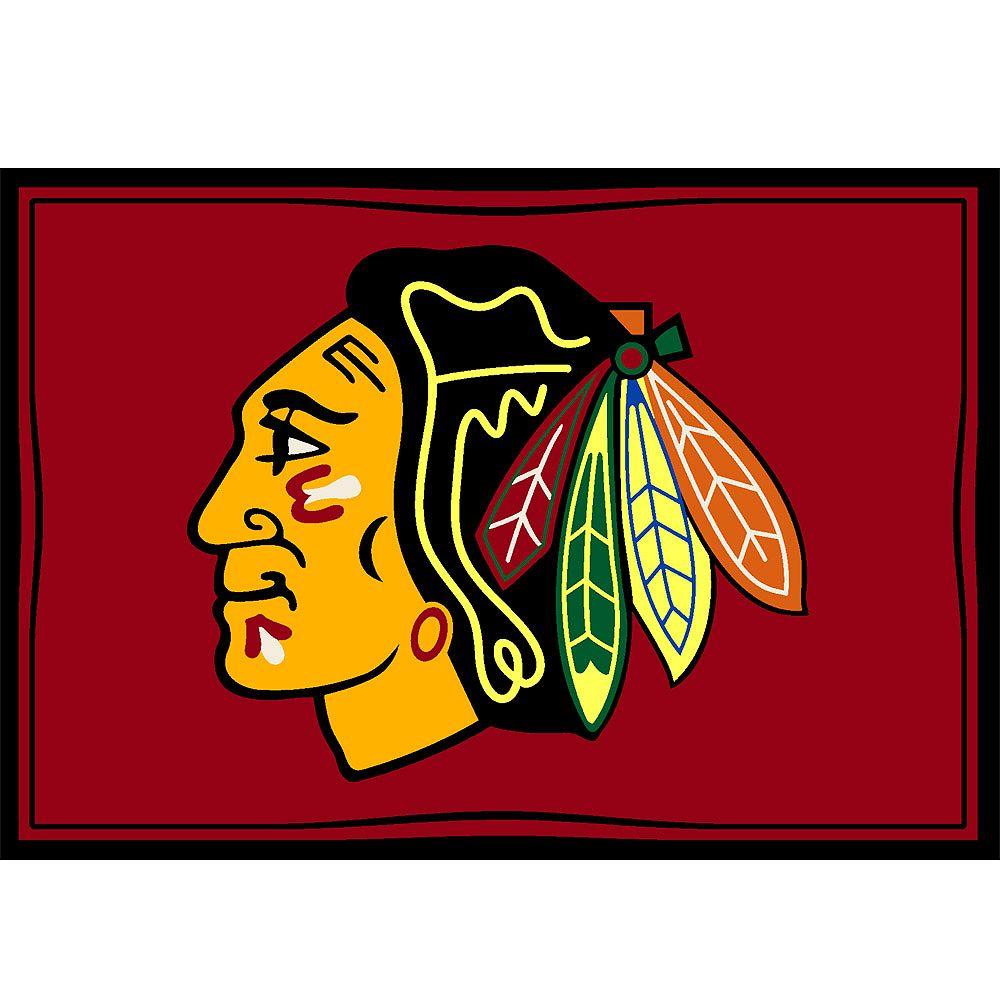 NHL Carpette Chicago Blackhawks, 3 pi 10 po x 5 pi 4 po, rectangulaire, rouge