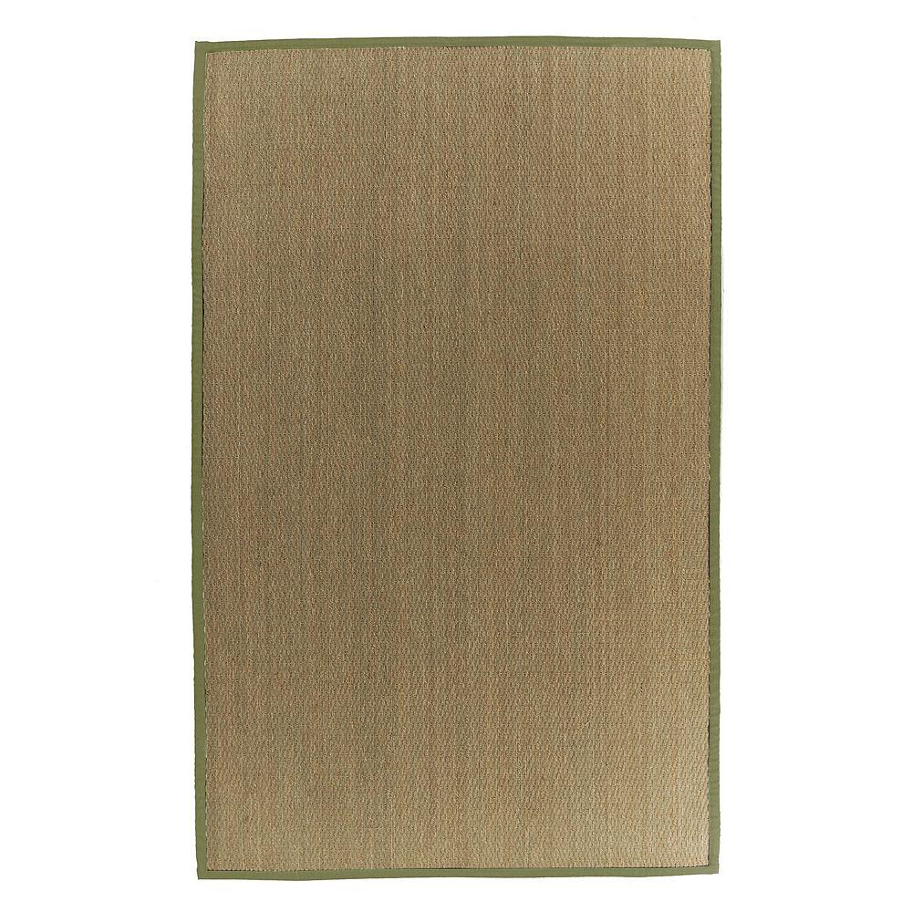 Lanart Rug Carpette d'intérieur, 9 pi x 10 pi, tissage texturé, rectangulaire, jonc de mer naturel, vert
