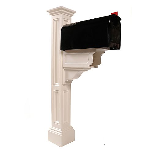 Mayne Charleston Plus Mailbox Post in White