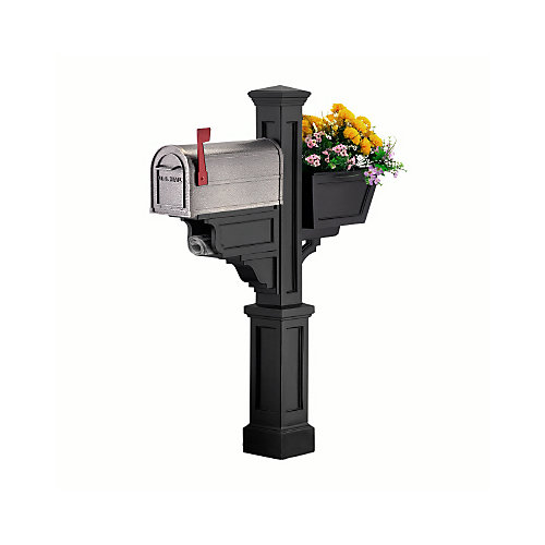 Signature Plus Mailbox Post (Black) - New England styled mailbox post with planter & paper holder