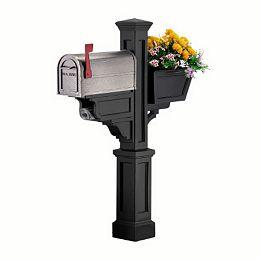 Poteau de boîte aux lettres Signature Plus (noir) Nouvelle-Angleterre, boîte à fleurs, journal