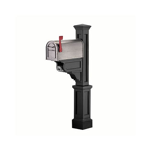 Mayne Dover Mailbox Post (Black) - New England styled mailbox post with paper holder