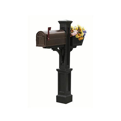 Poteau de boîte aux lettres Westbrook Plus (noir) style Nouvelle-Angleterre avec boîte à fleurs
