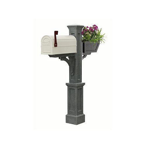 Poteau de boîte aux lettres Westbrook Plus (granite) style Nouvelle-Angleterre avec boîte à fleurs