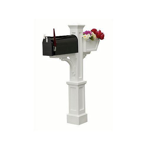 Poteau de boîte aux lettres Westbrook Plus (blanc) style Nouvelle-Angleterre avec boîte à fleurs