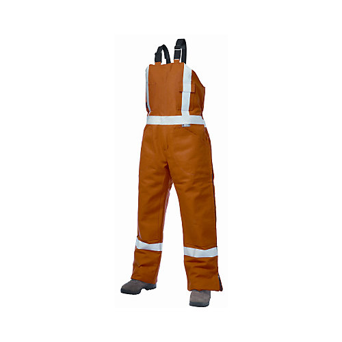 Orange Cotton Lined High-Visibility Bib Overalls  Large