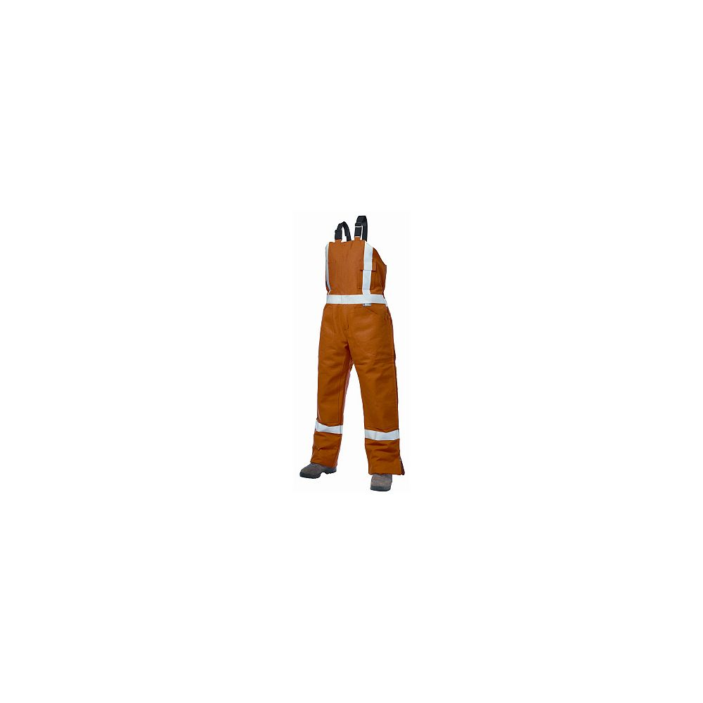 Tough Duck Orange Cotton Lined High-Visibility Bib Overalls  Large
