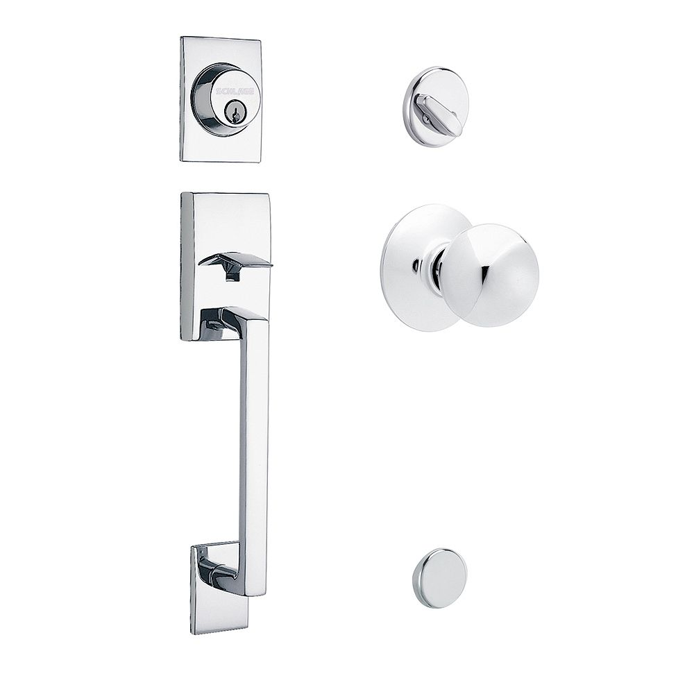 Schlage Century/Orbit Bright Chrome Handle Set