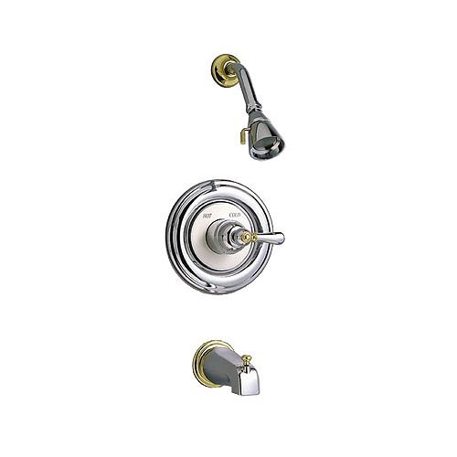 Williamsburg Single-Handle Tub and Shower Faucet in Satin and Brass