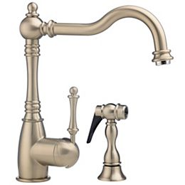 Traditional Single Lever, Solid Spout Kitchen Faucet With Side Spray, Stainless Steel