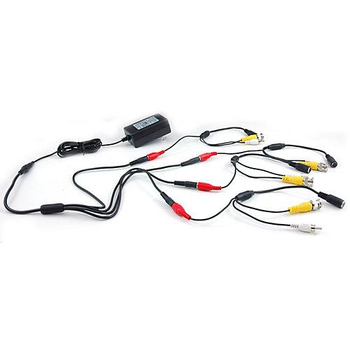 Adaptateur d'alimentation 4 en 1 avec câbles 4 x DIN à BNC/RCA/alimentation
