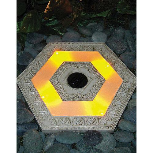 Hexagonal Solar Stepping Stone - white wash