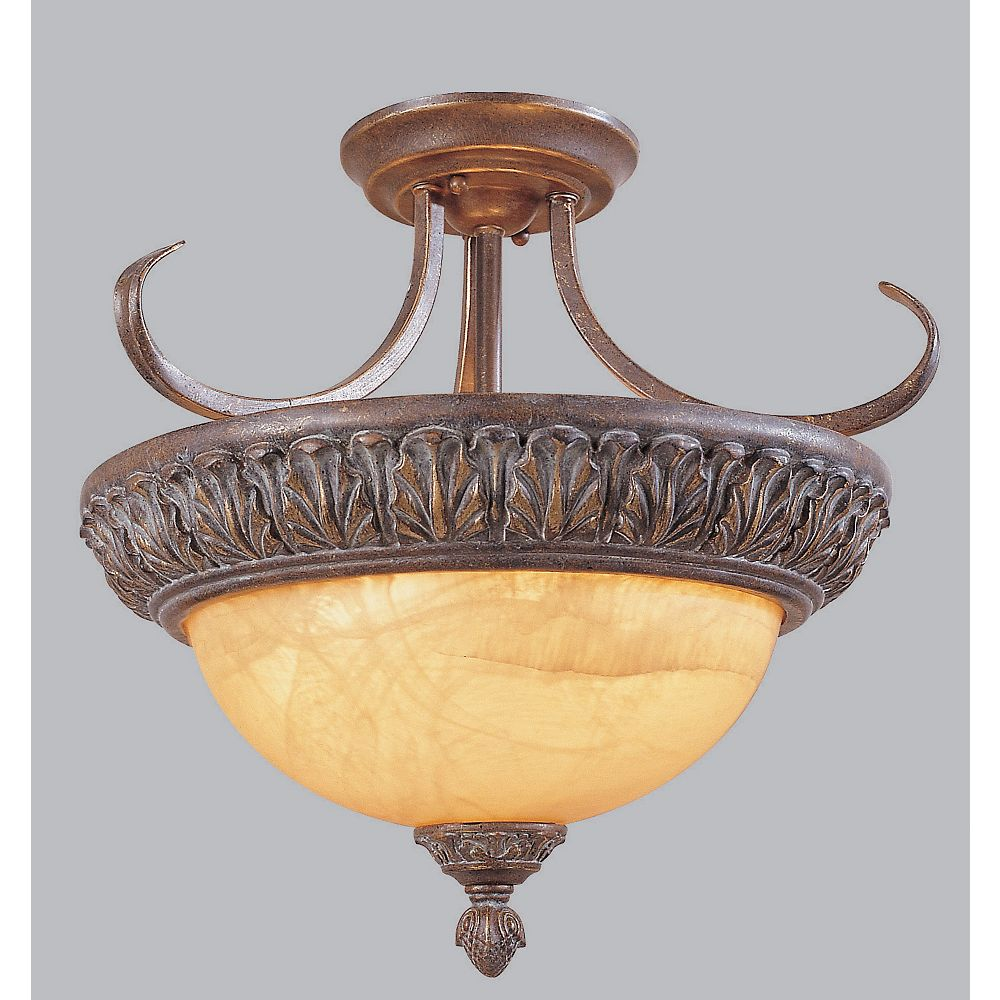 Amlite Lighting Flushmount, Antique Rust Finish - 20-1/2 Inches