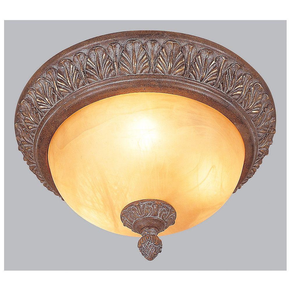 Amlite Lighting Flushmount, Antique Rust Finish - 16-1/4 Inches