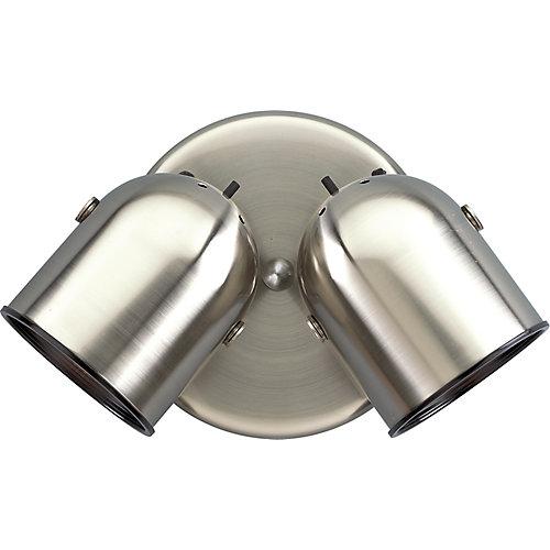 Projecteur à 2 Lumières - fini Nickel Brossé
