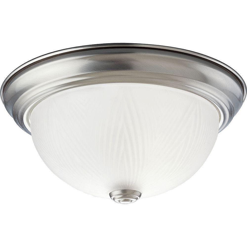 Progress Lighting Plafonnier à 1 Lumière, Collection Etched Glass - fini Nickel Brossé
