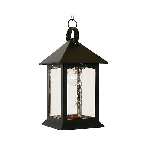 Heritage Series, Black with Clear Seeded Glass Panels, Suspended Chain Mount