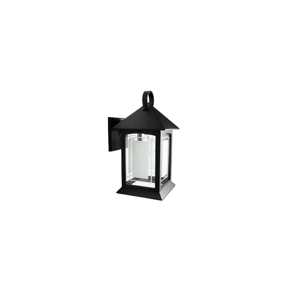 Snoc Heritage, Downlight Wall Mount, Frosted Pattern Glass Panels, Black