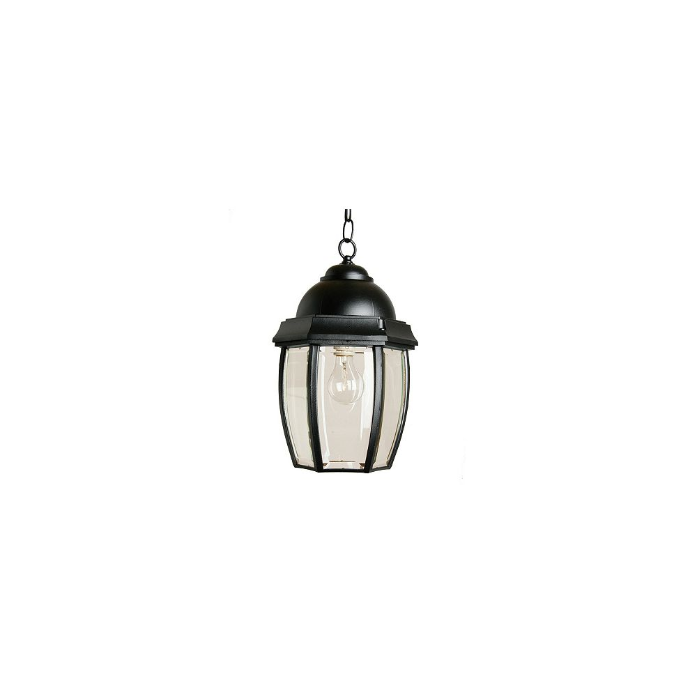Snoc Vintage III, Large, Suspended Chain Mount Lantern, Clear beveled glass panels, Black