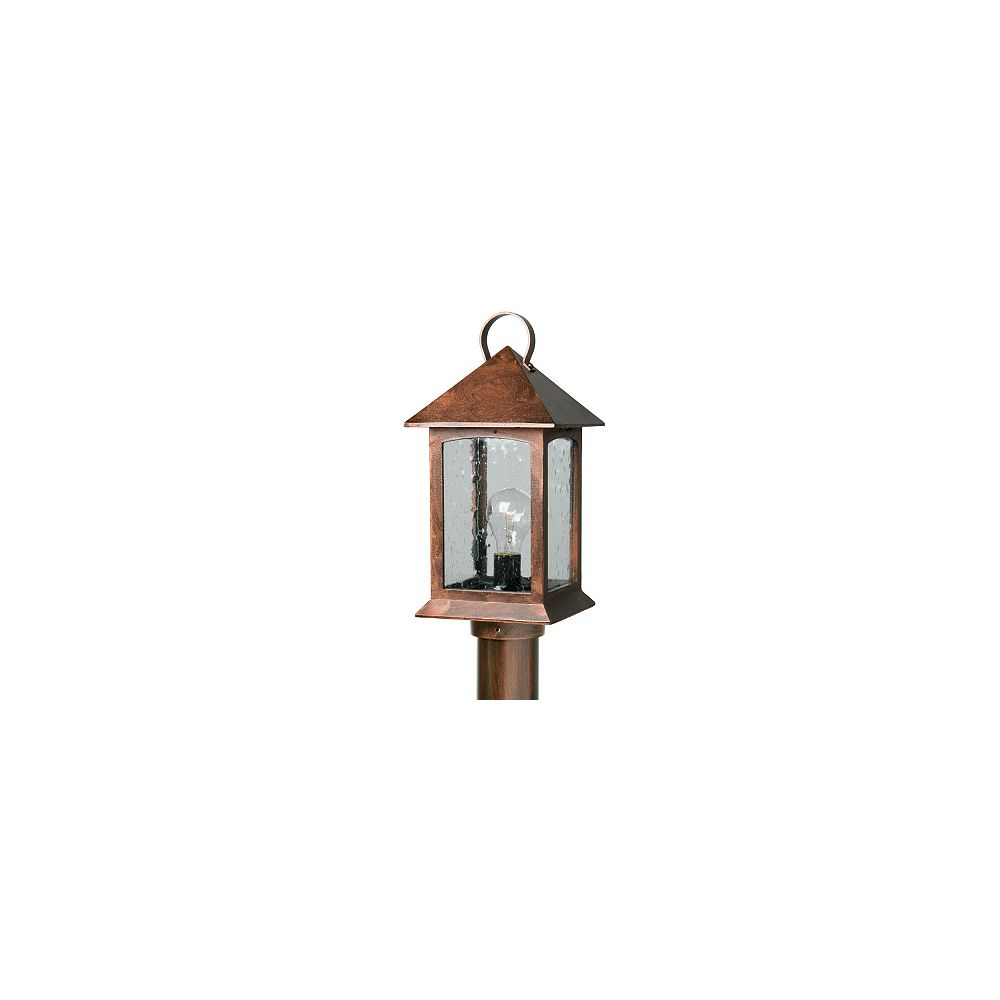 Snoc Heritage Series, Antique Copper with Clear Seeded Glass Panels, Post Top Mount