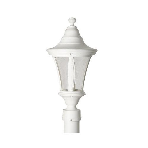 Luminaire de poteau avec globe clair bullé, collection Orion, blanc.