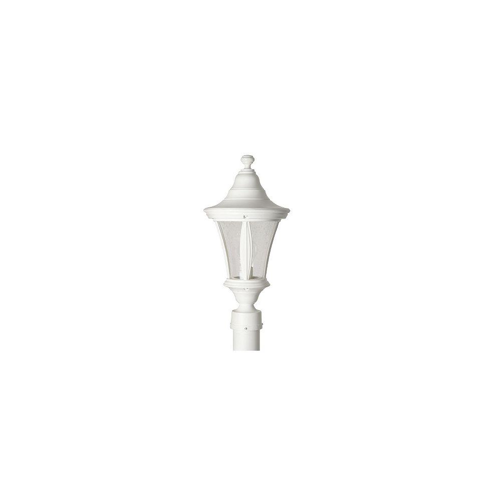 Snoc Luminaire de poteau avec globe clair bullé, collection Orion, blanc.