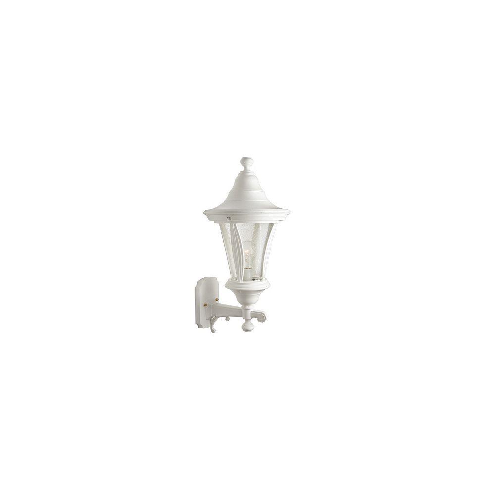 Snoc Luminaire vers le haut avec globe clair bullé, collection Orion, blanc.