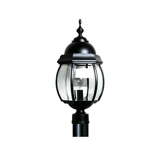 Luminaire avec panneaux de verre clair aux contours biseautés, collection Vintage IV grand, noir