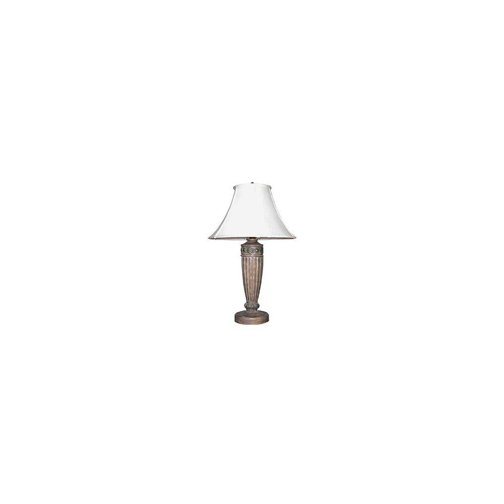Hampton Bay Lampe de table Santa Fe rose du désert, 29 po, diffuseur en verre marbré