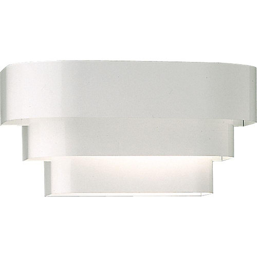 1-Light 100W White Finish Tri-Band Louver Metal Shade Wall Sconce